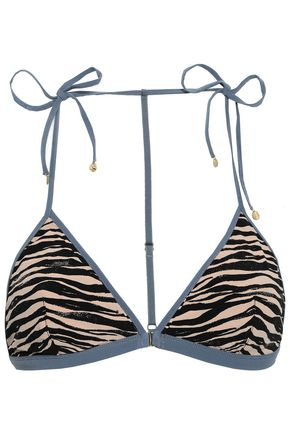 LOVE STORIES Phoenix bow-detailed zebra-print triangle bikini top