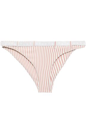 LOVE STORIES Pippa belted striped low-rise bikini briefs
