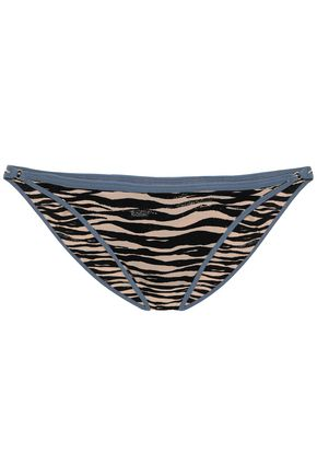 LOVE STORIES Shelby embroidered zebra-print low-rise bikini briefs