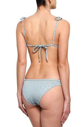 LOVE STORIES Joy bow-detailed leopard-jacquard triangle bikini top