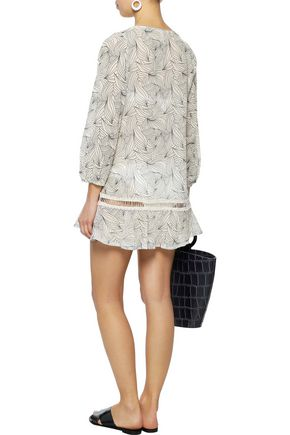 EBERJEY Guipure lace-trimmed printed cotton-gauze coverup