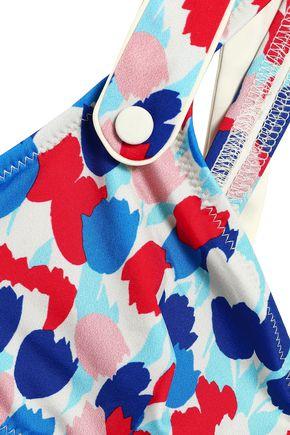 MORGAN LANE Isla button-detailed printed bikini top