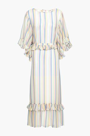 MORGAN LANE Ruffle-trimmed striped silk-georgette coverup