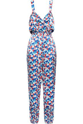 MORGAN LANE Floral-print silk-satin jumpsuit