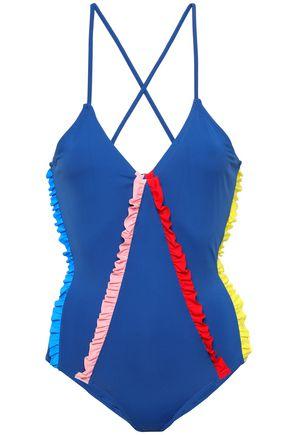 MORGAN LANE Ruffle-trimmed swimsuit