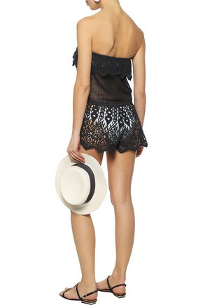 EBERJEY Sun Warrior Nina strapless cotton guipure lace playsuit