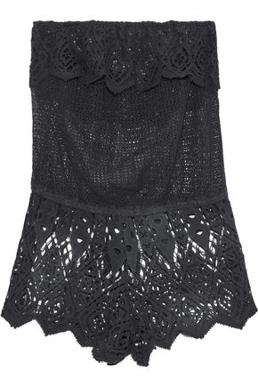EBERJEY Sun Warrior Nina strapless cotton guipure lace playsuit