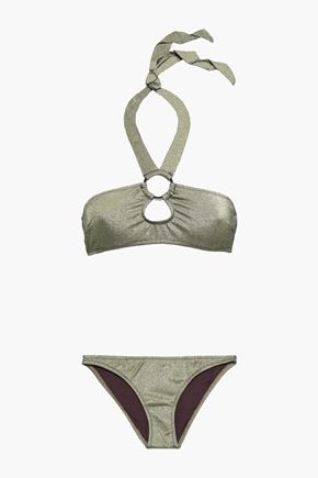 MORGAN LANE Cutout metallic halterneck bikini