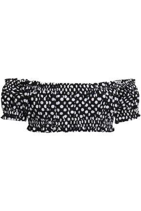 NORMA KAMALI Off-the-shoulder polka-dot bikini top