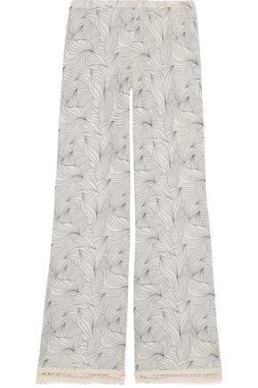 EBERJEY Natalya crochet-trimmed printed cotton-gauze wide-leg pants