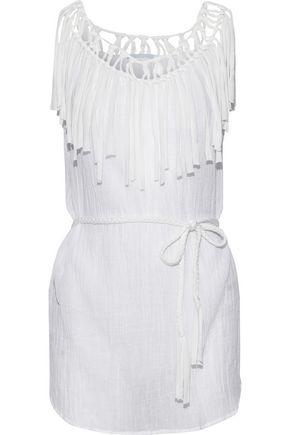 EBERJEY Fringed macramé-trimmed cotton-gauze coverup