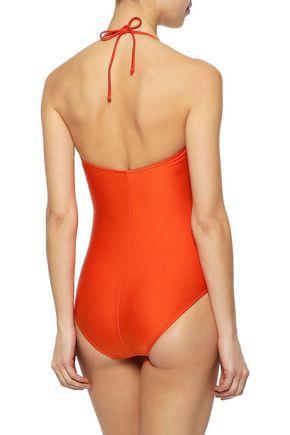 IRIS & INK Savannah wrap-effect halterneck swimsuit