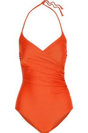 IRIS & INK Savannah wrap-effect halterneck swimsuit