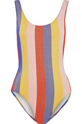 SOLID & STRIPED The Anne Marie metallic striped swimsuit