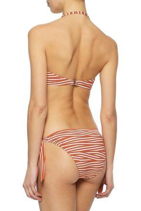 IRIS & INK Riley ruched striped bandeau bikini