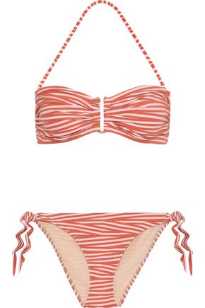 IRIS & INK Riley ruched striped bandeau bikini