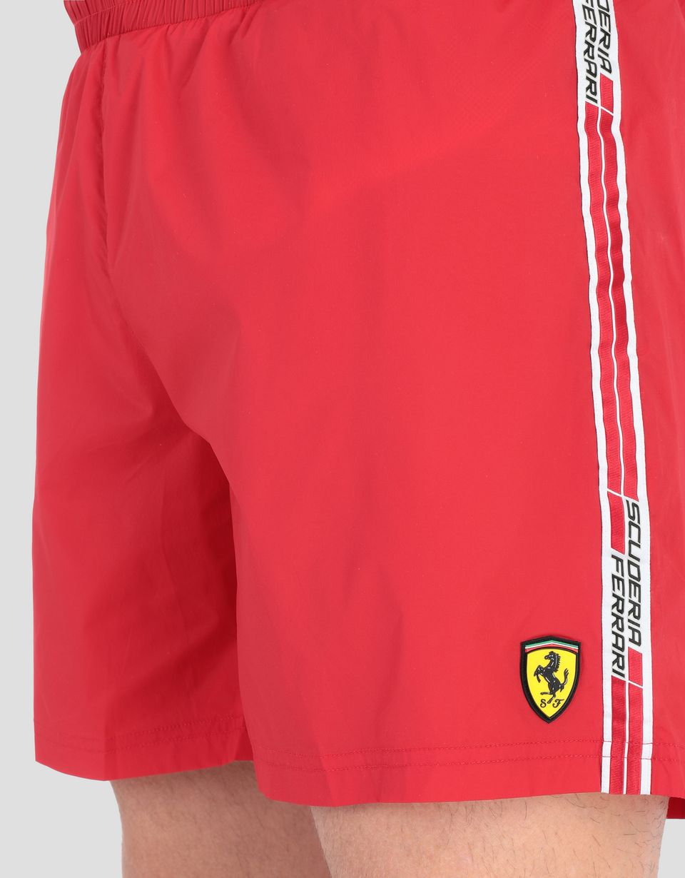 Scuderia Ferrari Online Store - Swimsuit with Scuderia Ferrari Icon Tape - Swimming Shorts