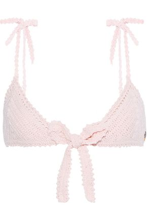 SHE MADE ME Lalita bow-detailed crocheted cotton triangle bikini top