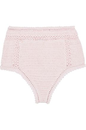 SHE MADE ME Essential crocheted cotton high-rise bikini briefs