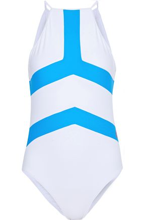 PERFECT MOMENT Nordic cutout printed swimsuit