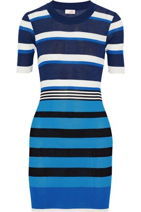DVF WEST DIANE VON FURSTENBERG Striped ribbed cotton-blend mini dress