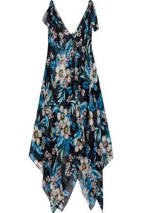 DVF WEST DIANE VON FURSTENBERG Draped floral-print silk-chiffon maxi dress