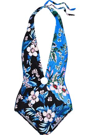 DVF WEST DIANE VON FURSTENBERG Ring-embellished floral-print halterneck swimsuit