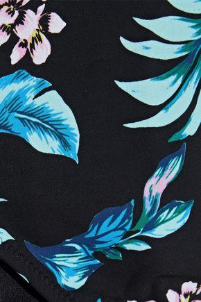 DIANE VON FURSTENBERG Lace-up floral-print mid-rise bikini briefs