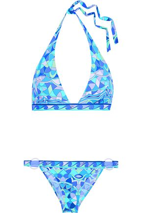 EMILIO PUCCI Printed halterneck bikini