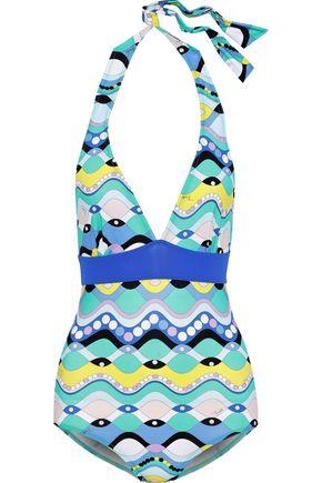 EMILIO PUCCI Printed halterneck swimsuit