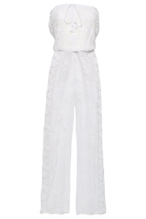 MIGUELINA Strapless crocheted cotton jumpsuit