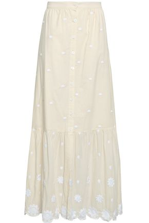MIGUELINA Embroidered cotton-gauze maxi skirt