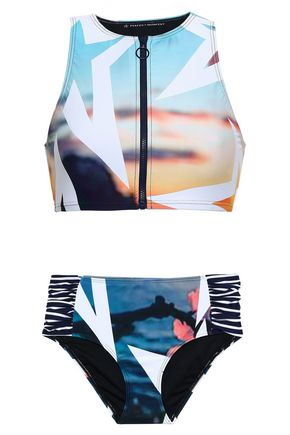 PERFECT MOMENT Printed zip-detailed bikini top