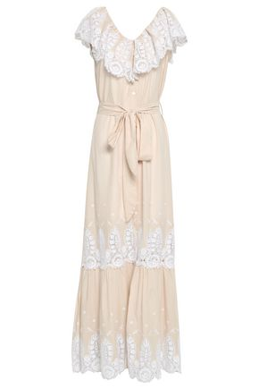 MIGUELINA Lace-paneled cotton-gauze maxi dress