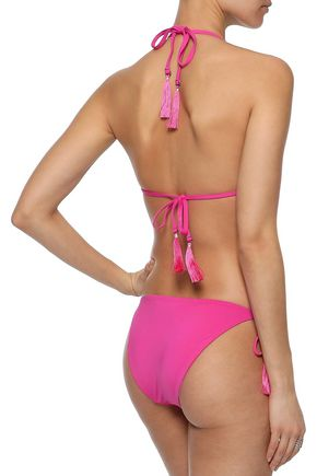 SKIN Tasseled triangle bikini top