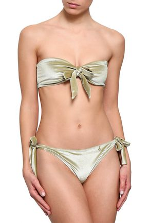 LOVE STORIES Bow-detailed chenille bandeau bikini top