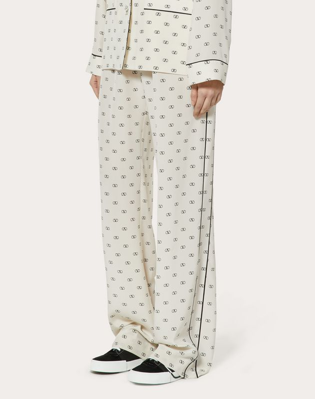 MINI VLOGO CREPE DE CHINE PAJAMA PANTS