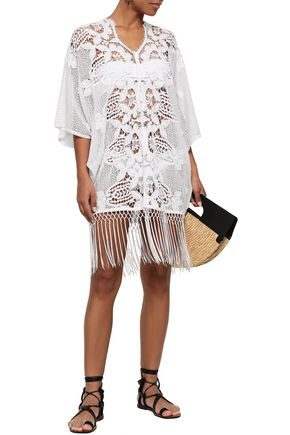 MIGUELINA Fringed guipure lace coverup