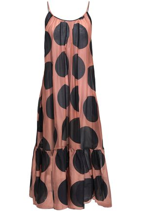 STELLA McCARTNEY Open-back polka-dot cotton and silk-blend mousseline midi dress