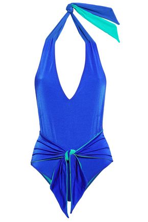 STELLA McCARTNEY Two-tone halterneck swimsuit