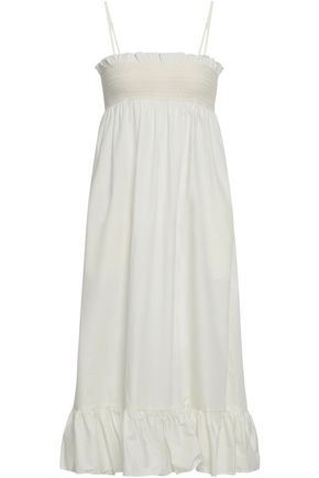 LISA MARIE FERNANDEZ Smocked cotton-poplin midi dress