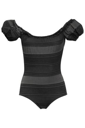 LISA MARIE FERNANDEZ Striped stretch-cotton jersey swimsuit