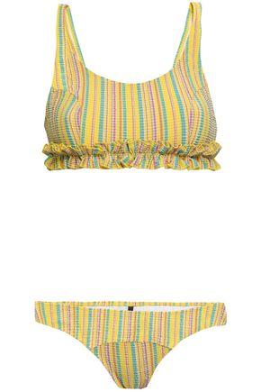 LISA MARIE FERNANDEZ Ruffle-trimmed striped seersucker bikini