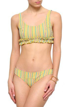 a6c45f69ac6cf LISA MARIE FERNANDEZ Ruffle-trimmed striped seersucker bikini