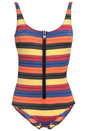 LISA MARIE FERNANDEZ Zip-detailed striped stretch-jersey swimsuit