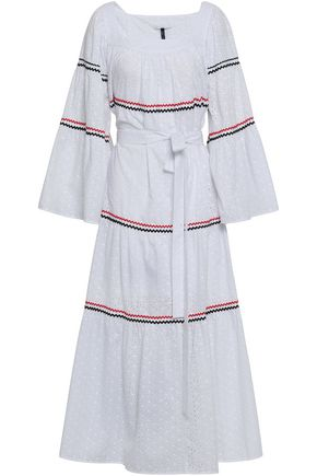 LISA MARIE FERNANDEZ Rick rack-trimmed broderie anglaise cotton midi dress