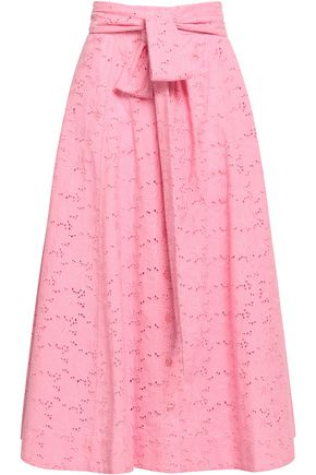 LISA MARIE FERNANDEZ Belted broderie anglaise cotton midi skirt