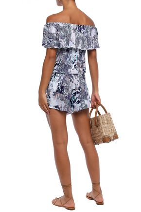 EBERJEY Gitana Tula off-the-shoulder printed voile playsuit