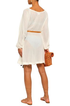 EBERJEY Belted cotton-gauze coverup