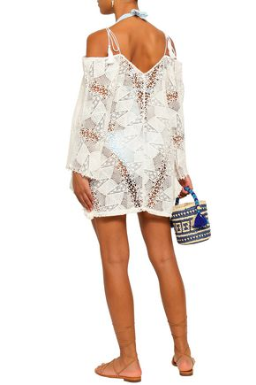 EBERJEY Cold-shoulder crocheted cotton coverup